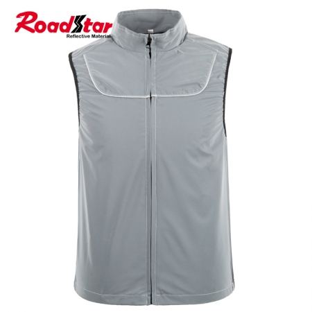 100% polyester men women sleeveless reflective jacket for joggers