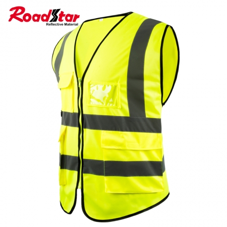EN20471 Class 2 High Visibility Fluorescent Yellow Reflective Safety Vest with 4 Pockets