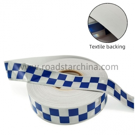 Metalized Checker Prismatic Trim Silver Micro Prismatic Reflective Fabric PVC Tape For Security Uniform