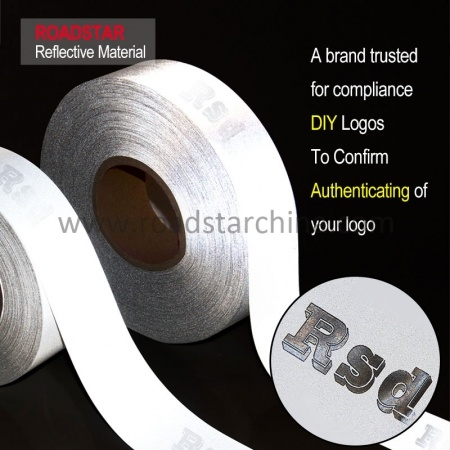 Custom Logo Embedded Laser Anti-Counterfeiting Reflective Fabric Tape For Clothing Sew On